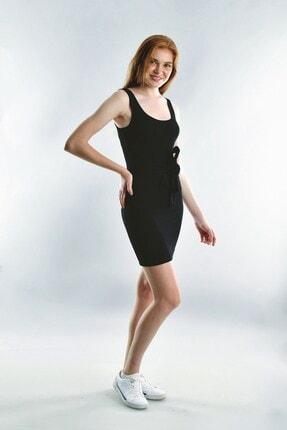 Cotton Mood 20072003 Kaşkorse Askılı Beli Bağlamalı Elbise Sıyah 1