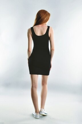 Cotton Mood 20072003 Kaşkorse Askılı Beli Bağlamalı Elbise Sıyah 2