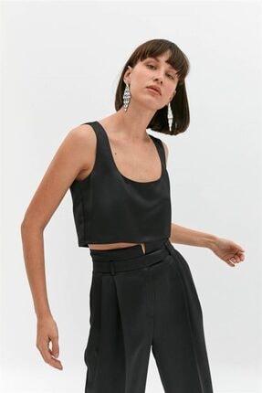 Rue Siyah Saten Crop Bluz 3