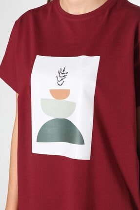 ALLDAY Bordo Baskılı Kısa Kol T-shirt 0