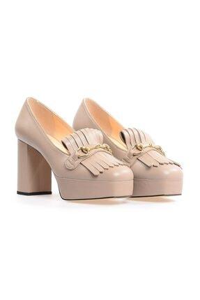 Flower Vizon Kalın Topuklu Önden Püsküllü Ayakkabı 1