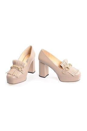 Flower Vizon Kalın Topuklu Önden Püsküllü Ayakkabı 3