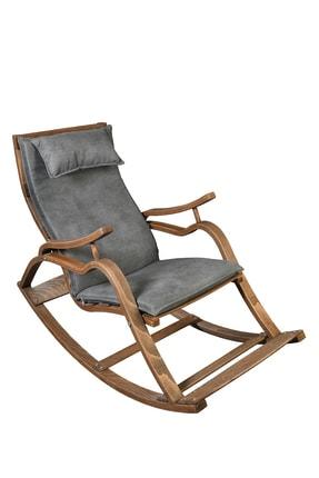 Aeka Ae-5002 Marmara Sallanan Sandalye Gri Minderli Ceviz Rengi Dinlenme Sandalyesi 0