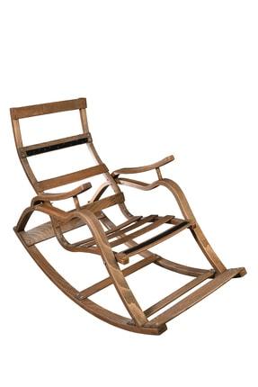 Aeka Ae-5002 Marmara Sallanan Sandalye Gri Minderli Ceviz Rengi Dinlenme Sandalyesi 1