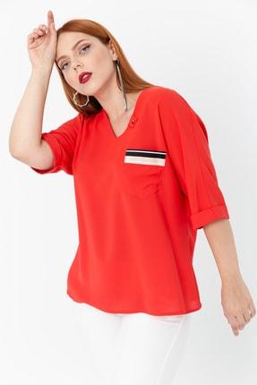 Lafaba Kadın Kırmızı Fakir Kollu Büyük Beden Cepli Bluz 2