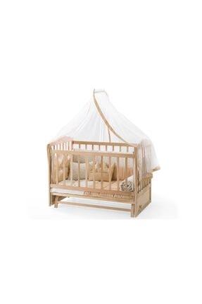 Heyner Ahşap Beşik Anne Yanı Beşik Sallanır Beşik Organik 60x120 + Krem Prenses ( Kız ) Uyku Seti + Yatak 1