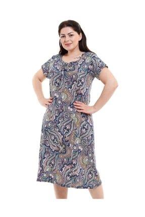 Dükkan Moda Kadın Büyük Beden Elbise Büzgülü Yaka Şal Desenli 0