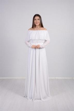 giyimmasalı Tül Üzeri Simli Abiye Elbise - Beyaz 2
