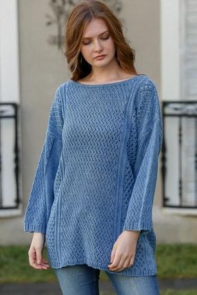 Chiccy Kadın Çivit Mavi Bohem Kayık Yaka Kafes Örgü Triko Yıkamalı Salaş Bluz M10010200bl95980 1