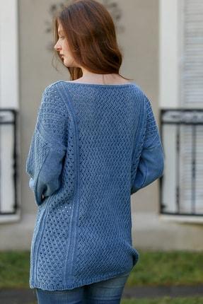 Chiccy Kadın Çivit Mavi Bohem Kayık Yaka Kafes Örgü Triko Yıkamalı Salaş Bluz M10010200bl95980 4