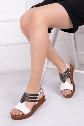 Deripabuc Hakiki Deri Beyaz X3 Kadın Deri Sandalet Dp-0095 0