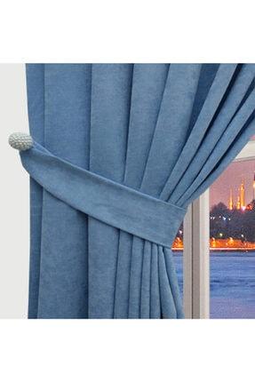 Taç 60x260 Cm Kumaş Bağcıklı Canvas Pileli Fon Perde-a.mavi 1
