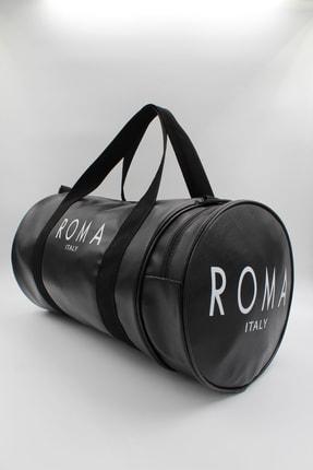 roma italy Silindir Siyah Iki Gözlü Fermuarlı, El - Omuz Askılı Spor Çantası 1