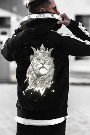 DE PLEIN Unisex Lion Siyah Baskılı % 100 Pamuk Kapüşonlu Sweatshirt 0