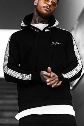 DE PLEIN Unisex Lion Siyah Baskılı % 100 Pamuk Kapüşonlu Sweatshirt 1
