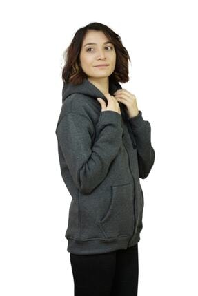 OG Casual Antrasit Melanj Fermuarlı Kapüşonlu Sweatshirt 3