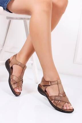 Deripabuc Hakiki Deri Vizon Kadın Deri Sandalet Dc-0111 0