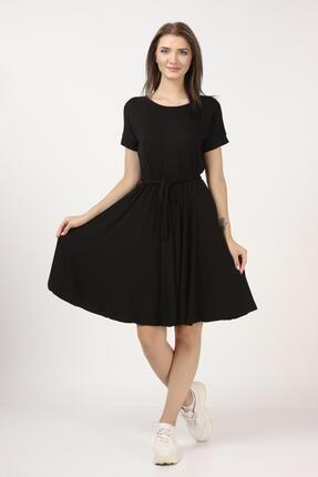 Tena Moda Kadın Siyah Beli Büzgülü Elbise 2