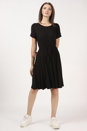 Tena Moda Kadın Siyah Beli Büzgülü Elbise 3
