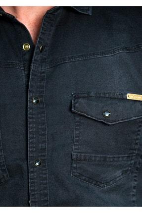 BAYEFENDİ Kot Gömlek Cepli Slim Fit 3