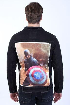 تصویر از Captain America Baskılı Erkek Siyah Yıkamalı Kot Ceket
