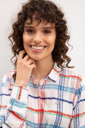 US Polo Assn Beyaz Kadın Dokuma Gömlek 1