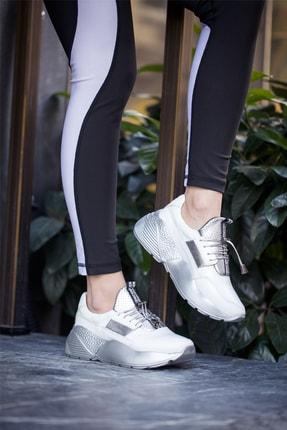 Abbondare Hakiki Deri Beyaz-gri Kadın Spor Ayakkabı-sneaker 4