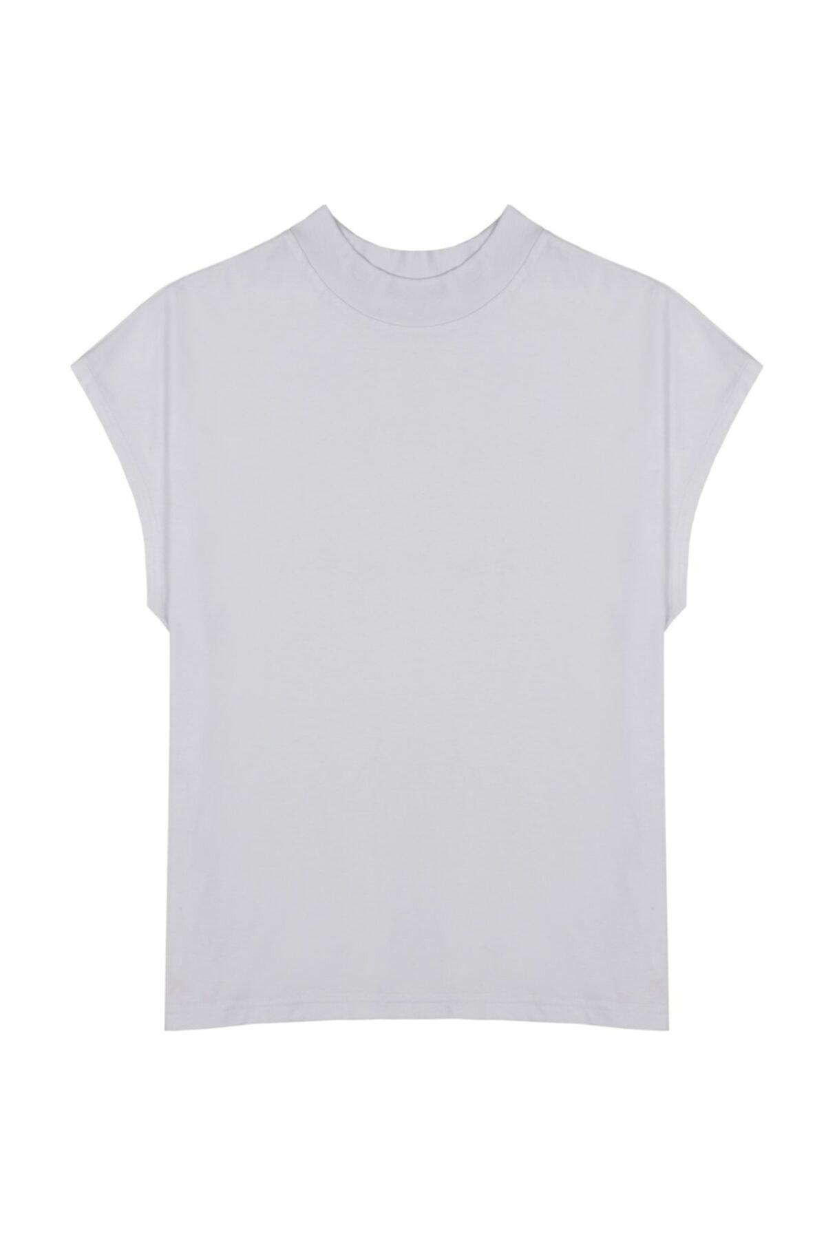 Cate Dik Yaka (Mock Neck) Basic Beyaz T-shirt