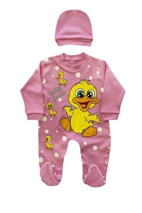 Minnoş Bebe Unisex Bebek Pamuklu Baskılı Tulum 0