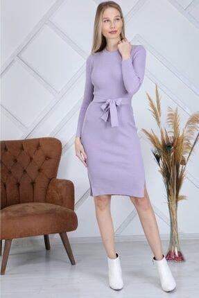 AVVER Kadın Bel Kuşaklı Yandan Yırtmaç Triko Elbise - Lila 1