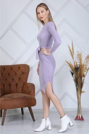 AVVER Kadın Bel Kuşaklı Yandan Yırtmaç Triko Elbise - Lila 2