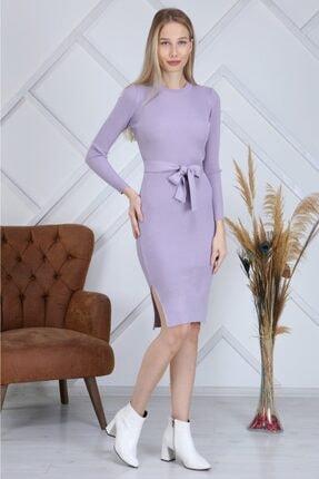 AVVER Kadın Bel Kuşaklı Yandan Yırtmaç Triko Elbise - Lila 4