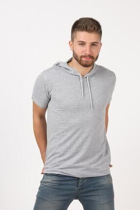 Tena Moda Erkek Gri Kısa Kollu Kapşonlu Basic Tişört 2