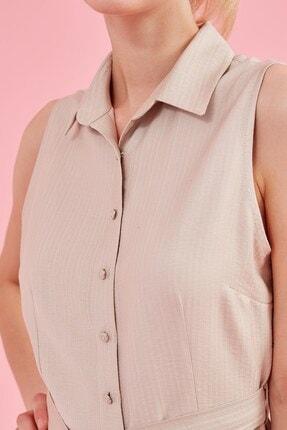Journey Elbise Polo Yaka, Ön Komple Düğme, Belden Kuşak Detaylı, Kolsuz 1