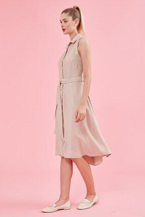 Journey Elbise Polo Yaka, Ön Komple Düğme, Belden Kuşak Detaylı, Kolsuz 4