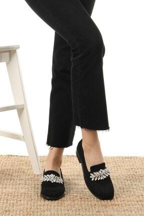 Mio Gusto Matilda Siyah Süet Taşlı Oxford Ayakkabı 2