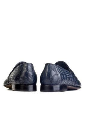 Cabani Örgülü Derili Neolit Enjeksiyon Tabanlı Loafer Erkek Ayakkabı Lacivert Deri 3