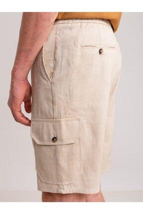 Dufy Bej Melanj Ip Detaylı Cepli Keten Karışımlı Erkek Short - Modern Fit 2