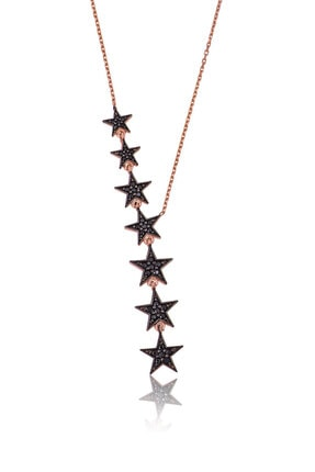 Papatya Silver Siyah Nano Zirkon Taşlı 925 Ayar Kayan Yıldızlar Gümüş Kolye 0