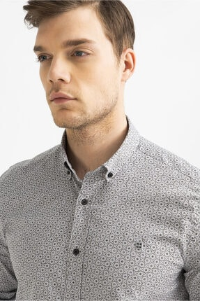 Avva Erkek Gri Baskılı Alttan Britli Yaka Slim Fit Gömlek A92y2233 0