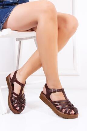 Deripabuc Hakiki Deri Kahverengi Kadın Deri Sandalet Dp-0097 0