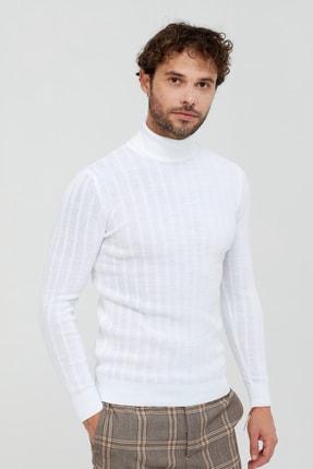 Tarz Cool Beyaz Çizgili Boğazlı Triko Kazak- Tarz1676r04s 1