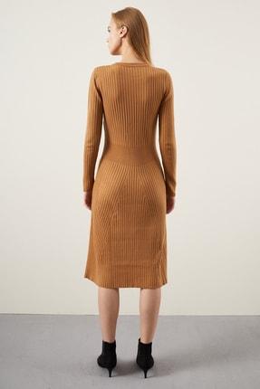 Tena Moda Kadın Bisküvi Fitilli Çan Uzun Elbise 3