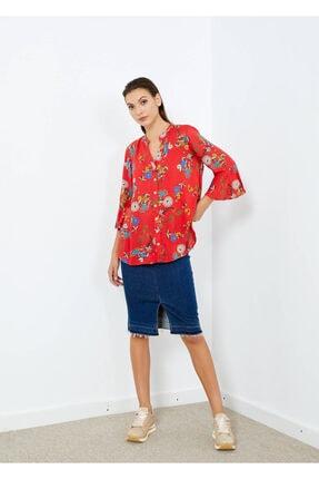 Adze Kadın Nar Çiçeği V Yaka Kol Detay Gömlek Nar Cıcegı S 1