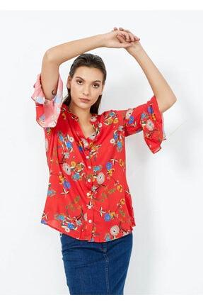 Adze Kadın Nar Çiçeği V Yaka Kol Detay Gömlek Nar Cıcegı S 4