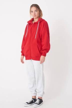 Addax Kadın Kırmızı Kapüşonlu Uzun Hırka H0725 - W6 - W7 ADX-0000020316 1