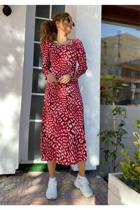 ModayButik Kare Yaka Desenli Elbise 0