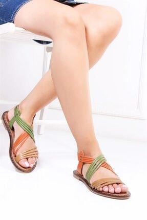 Deripabuc Hakiki Deri Multi-2 Kadın Deri Sandalet Dp28-0863 1