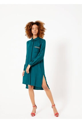 Adze Kadın Yeşil Düğmeli Cepli Tunik Yesıl 44 0