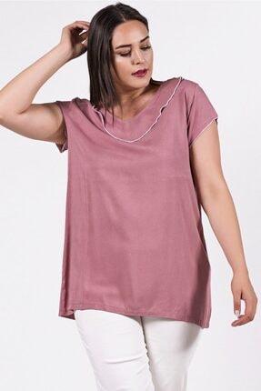 Womenice Büyük Beden Pudra Yakası Kolu Sufle Bluz 0